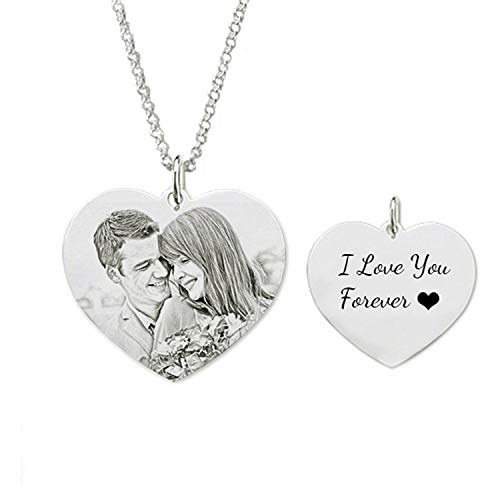 Lloveliness Personalised Photo Necklace Custom Engraved Picture Heart 925 Silver Pendant Gift Keepsake for Women Mum