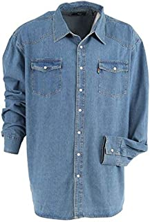 D555 Kingsize Western Long Sleeve Denim Shirt Black