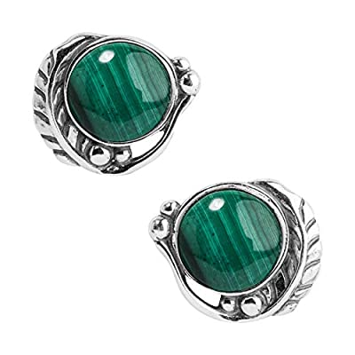 American West Sterling Silver & Gemstone Button Earrings - Classics Collection