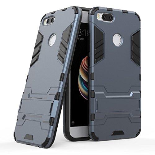 GOGME Funda para Xiaomi Mi 5X, Soporte Plegable Case, Azul Marino