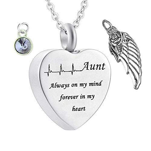 Daesar Stainless Steel Necklace Heart Ashes Necklace Angel Wings ECG Engraved Necklace Pendant Aunt Always on My Mind. Heart Necklace with Birthstones June