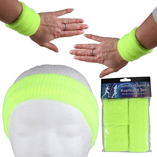 Alsino - Fascia tergisudore per uomo e donna, elasticizzata, fascia per il sudore per il fitness a righe fronte retro in spugna anni '80, fascia tergisudore per Carnevale (giallo fluo)