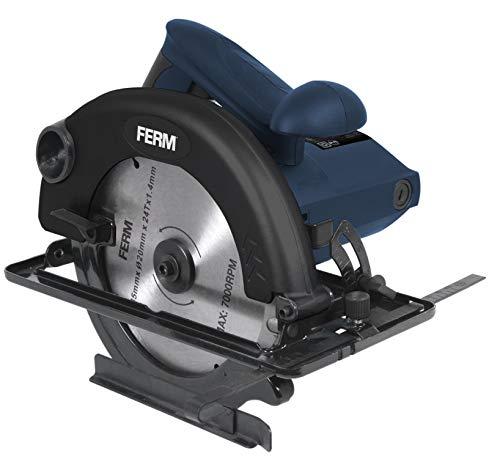 FERM Kreissäge 1200W -185mm - Spindelarretierung - verstellbare Fußplatte (45 und 90 Grad) - Inkl. TCT Sägeblatt und Parallelführung