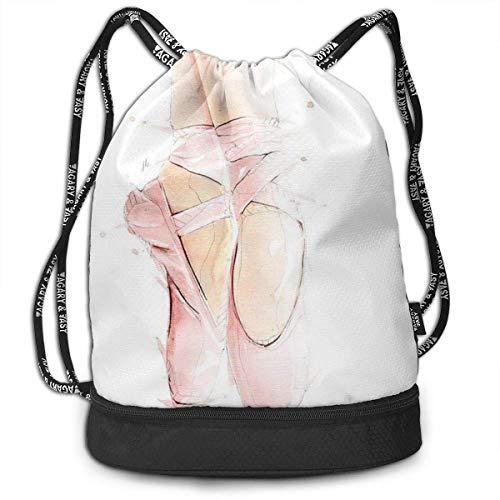 DJNGN Zapatos de Ballet cordón Mochila Gimnasio Compras Deporte Yoga Bolsa Bolsa Saco