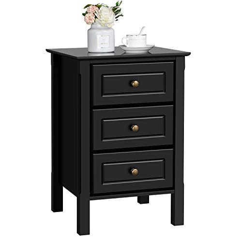 Yaheetech Bedside Table Wooden Nightstand Unit with 3 Drawers Black Side Table Cabinet for Bedroom/Living Room/Hallway 40x40x60cm