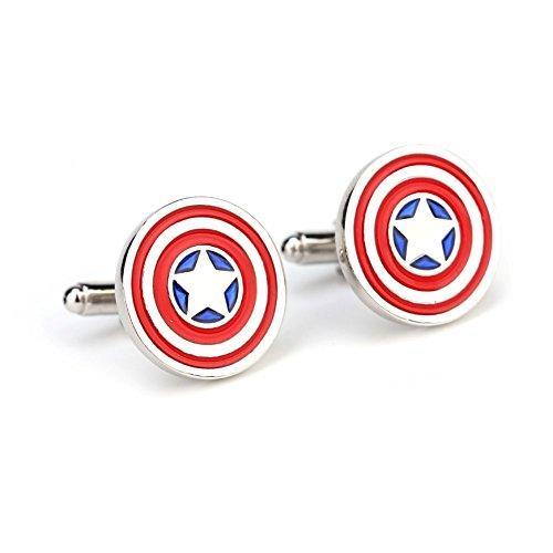 S+S SS Captain America Iconic rund Patriotische Shield Manschettenknöpfe für Herren