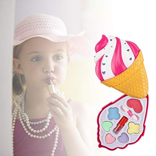 Kit De Maquillage Enfant, Coffret Palette De Maquillage Dépliable avec Miroir,Cosmétique Lavable Palette Eyeshadow,Idéal Jouet Cadeaux pour Enfant Filles, Boîte De Crème Glacée