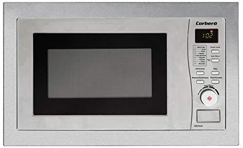 Corberó CMICPG120 Microondas de Encastre, 20 Litros, 800W, 6 N. Potencia, Con Marco, Función Grill y Grill Combinado, Función Auto-menu, Cocina Exprés, Reloj Digital, Temporizador de 60 Min, Inox