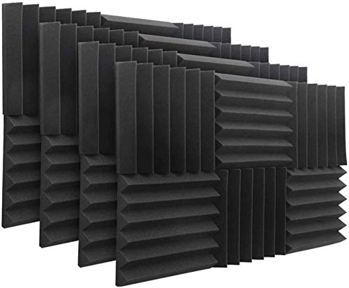 DEKIRU 48 Pack Acoustic Foam Panels, 12'X 12'X 2' Sound Proof Padding Wall Soundproofing Wedge Tiles, Ideal for Home&Studio Noise Cancelling Sound Insulation Absorbing with Adhesive Tabs (Black)