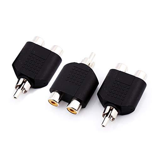 RCA Y Verteiler 1 Cinch Stecker auf 2 Cinch Buchse RCA PHONO Verlängerungsadapter AV Audio Videoeingänge Hub Erweiterung für TV Auto GPS Navigations Stereo Seitenansichtskamera / Frontkameras - 3 PCS