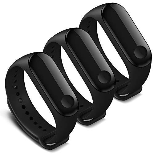 Kit com 3 pulseiras pretas para mi band 3 ou 4