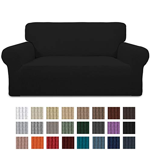 Easy-Going Stretch Loveseat Slipcover 1-Piece Couch Sofa Cover Furniture Protector Soft with Elastic Bottom for Kids. Spandex Jacquard Fabric Small Checks(loveseat,Black)