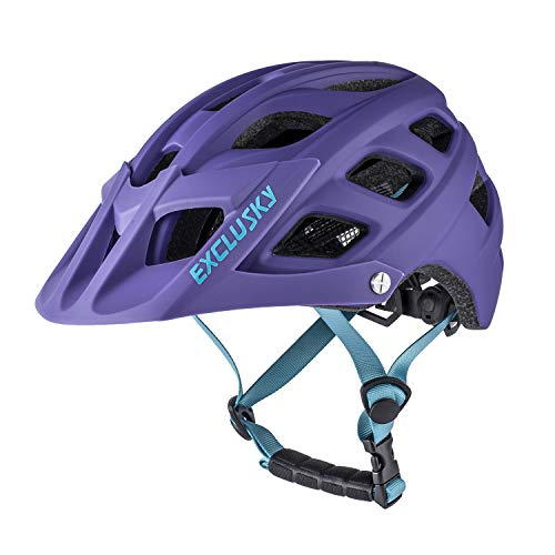 Exclusky Youth Bike Helmet Mountain Bike Helmet Kids Cycle Helmet, Easy Attached Visor Adjustable Boys and Girls 54-57cm (Ages 8-14) (purple)