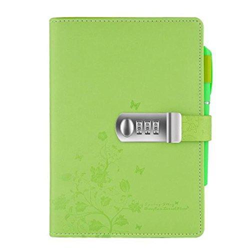 Cuaderno de Viaje Cuero PU,Diario Contraseña Cuaderno de Combinación con candado y contraseña ,NPN99-1,Blue