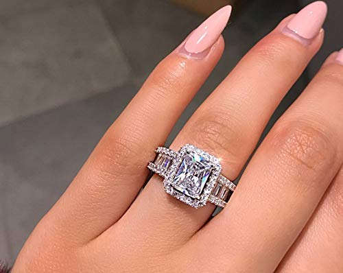 Xiaodou 925 Sterling Silver Engagement Wedding Ring Princess Cut Cubic Zirconia Ring Cubic Zirconia Simulated Diamond Wedding Engagement Ring (6)