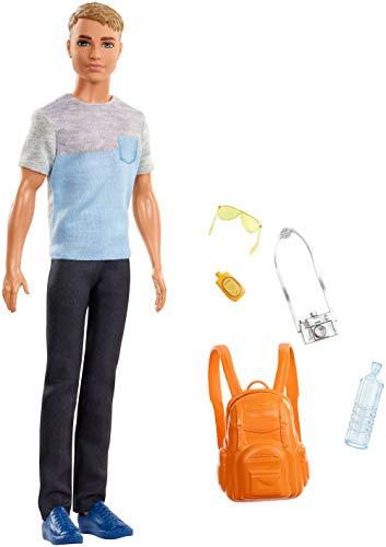Barbie FWV17 FWV15 - Reise Ken Puppe mit Rucksack und Zubehör aus Barbie Dreamhouse Adventures, Puppen Spielzeug ab 3 Jahren