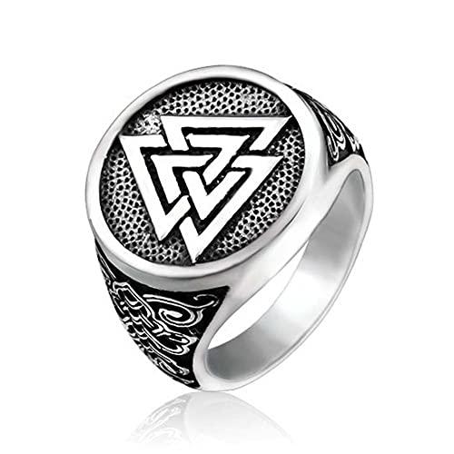 C2Jew Anillo Vikingo Valknut, Mitología Nórdica Amuleto del Símbolo de Odin, Acero Inoxidable Regalo de Joyería de Nudo Celta,Plata,9