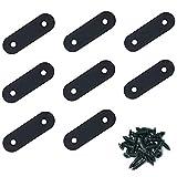 NZCMYX棚受け金具 黒 I字金具 ステンレス鋼のI字型ブラケット 家具の固定板 (8個, 50×16×2mm)