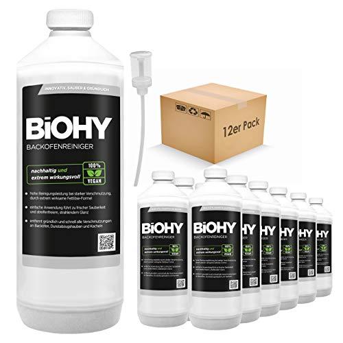 BIOHY ovenreiniger, sterk geconcentreerd, 12 x 1 liter flessen + doseerder, grillreiniger, vetoplosser voor eenvoudige en snelle ovenreiniging, geheel zonder schrobben