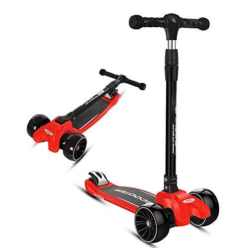 ZYCWBW Dreirad-Kick-Scooter Für Jungen Und Mädchen - Perfekt Für Kindergeschenk Spielzeug Für Kleinkinder Im Alter Von 2 Bis 14 Jahren Mit LED-Leuchträdern, Faltbarem Design Verstellbaren Griffen,Rot