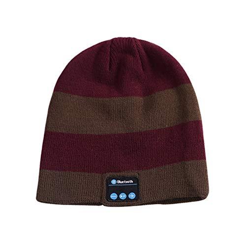 Bluetooth 5.0 Wireless Music Hut Winter Strickmütze Headset mit Lautsprecher Beanie Mütze Kopfhörer für Männer Frauen (Color : C)