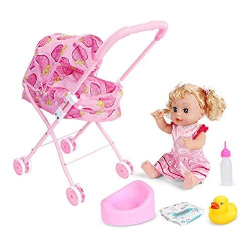 Impresión de dibujos animados conjunto 4pcs / set de la muñeca cochecito plegable del cochecito de niño de la muñeca Regalo Con Diseño cochecito de bebé con el regalo para muñecas (fresa de coches)
