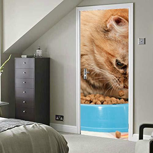 Hauskatze essen Futter in der Schüssel Selbstklebende Vinyl abnehmbare Wandtattoo Tür Esszimmer Tapete 77 x 200 cm (30 x 79 Zoll) 2 Stück