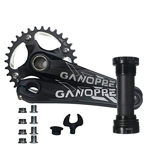 GANOPPER 32T Fat Bike Crankset 175mm 104 BCD Single Speed Chainring Crank Set Narrow Wide Teeth Fatbike Chainset Compatible with 9 10 11 Speed Mountain Bicycle MTB (100mm 36T cankset)