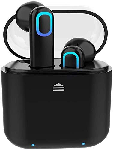 Acokki Bluetooth-Kopfhörer, kabellos, tiefer Bass, HiFi, 3D-Stereo-Sound, integriertes Mikrofon, Kopfhörer mit tragbarer Ladehülle für Smartphones und Laptops black-new