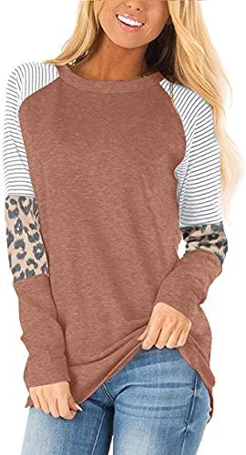 AYIFU Blusa de manga larga para mujer con estampado de leopardo y bloque de color (marrón, S)