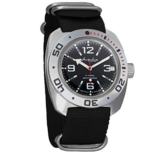Vostok Militar ruso Diver para hombre de anfibios Amphibia Reloj de pulsera Negro Nailon # 71315
