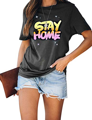 Blooming Jelly Womens Graphic Tee Top Crew Neck Casual Shirts Loose Stay Home Tshirts (Small, Grey)