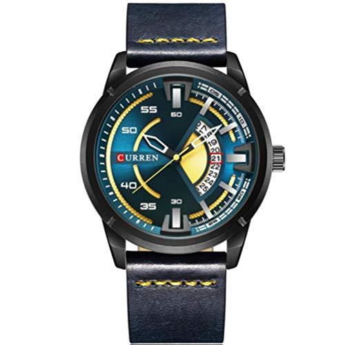 Armbanduhr,Lederarmband Mit Kalenderfunktion, wasserdichte Quarzuhr, Schwarze Schale, Dunkelgrüne Oberfläche