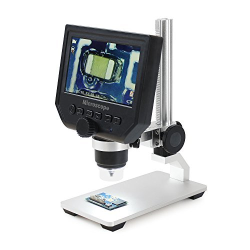 Aomekie LCD Digital Microscope with 4.3' Screen 1080P Soldering Microscopes 1-600X Zoom with 8 LED Adjustable Lightand Rechargeable Lithium Battery for Cellphone PC Circuit Board SMD Repair