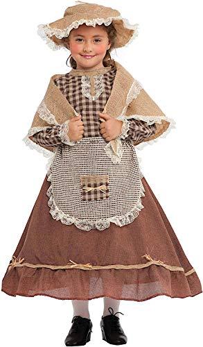 VENEZIANO Costume Carnevale da CONTADINA Vestito per Ragazza Bambina 7-10 Anni Travestimento Halloween Cosplay Festa Party 5087 XL