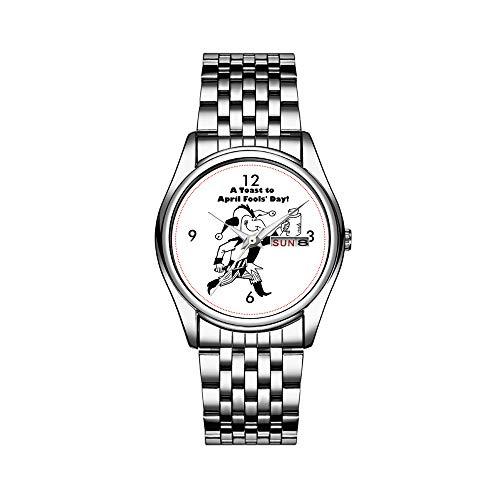 Herren Luxusuhr 30m Wasserdicht Datum Herrenuhr Sportuhren Herren Armbanduhr Quarz Casual Geschenk EIN Toast für Aprilscherze Jester Cartoon Armbanduhren