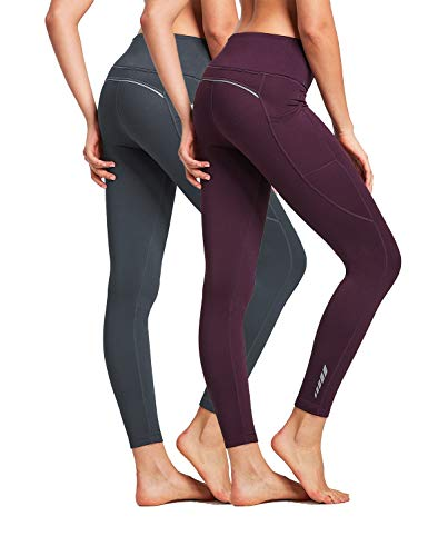 BALEAF Women's Fleece Lined Leggings High Waisted Winter Running Tights Thermal Pocketed Leggings 2 Pack Gray/Purple Size M