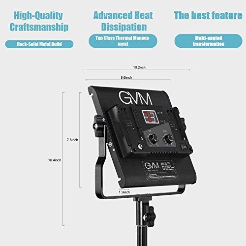 GVM Great Video Maker GVM Slim LED Panel Video Light 480pcs 29W CRI97+ TLCI97+ for 4500K Variable Bi-Color Balanced LED Continuous Video Light with Digital