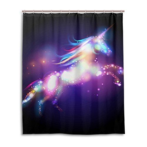 Duschvorhang von Jstel, dekorativer Duschvorhang mit Einhorn- und Sternen-Motivdruck, 100% Polyester, ca. 150 cmx 180cm