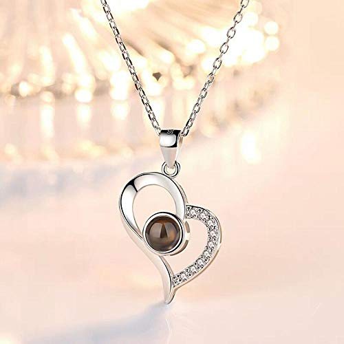 Love Heart Romantic Love Memory Collar de Bodas Oro Rosa y Plata 100 Idiomas Te Amo Collar Colgante de proyección-Color Plata corazón-2