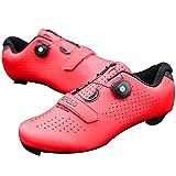 Honeyhouse Scarpe da Bici da Strada da Uomo Scarpe da Ciclismo con Tacchetti Compatibili Scarpa Peloton Con SPD e Delta per Scarpe da Ciclismo con Pedale di Bloccaggio da uomo (EU46-UK12,Red)