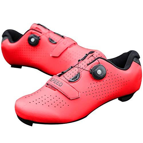 Herren Rennrad Fahrradschuhe Spin Schuhe mit kompatiblen Stollen Peloton Schuh mit SPD und Delta für Herren Lock Pedal Fahrradschuhe (Red,EU43-UK9.5)