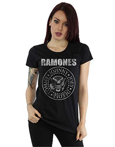 Ramones Damen Distressed Seal T-Shirt Large Schwarz