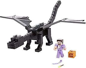 Minecraft Ultimate Ender Dragon Figure 20-in Mist-Breathing Creature Plus 3.25-in Color-Change Steve Figure Weapon Amor and Battle Accessory Gift for 6 Years Old and Up