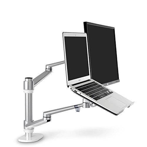 ThingyClub Adjustable Aluminium Universal Laptop & Monitor Desk Mount Monitor Arm Stand Bracket with Tilt and Swivel (Laptop & Monitor - Silver)
