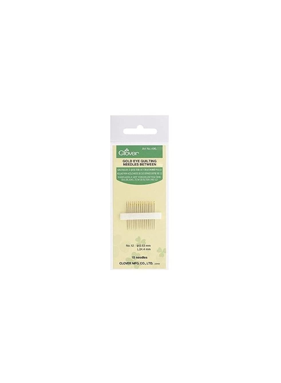 Clover CL496/08   15pk No.8 Nickel Plate Gold Eye Quilting Needles   Smooth Sew