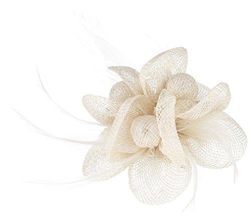 EOZY Tocado de Pelo con Flor para Mujer Boda Fiesta Elegante Beige