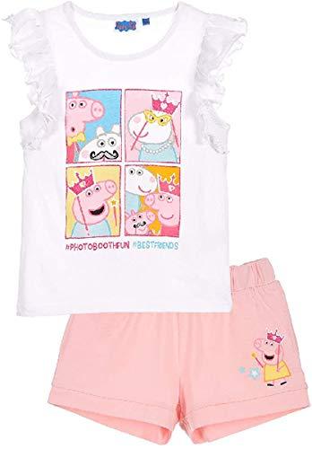 Peppa - Conjunto de camiseta y pantalón corto para niña Blanco 4 años