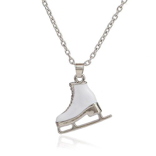 My Shape Fashion Weiß Emaille Zink Legierung Schlittschuhe Schuhe Big Anhänger Lang Herren Frauen Halskette