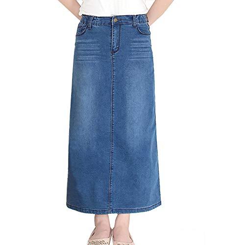 LVSF Damen Maxi-Bleistift-Jeansrock, hohe Taille, A-Linie, langer Jeansrock Gr. 52, blau